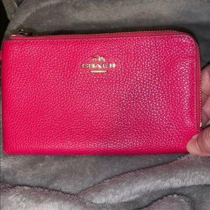 COACH pink leather double zip wallet wristlet